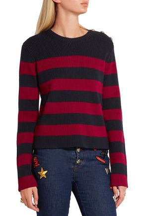 REDValentino Striped ribbed wool sweater