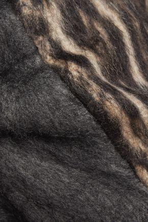 ROCHAS Leopard print-paneled faux fur sweater