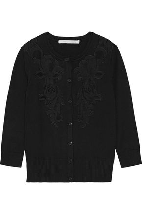 DIANE VON FURSTENBERG Cooper corded lace-paneled stretch-knit cardigan