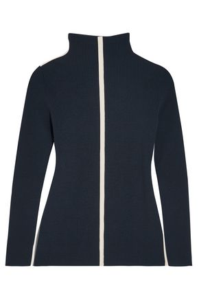 CEDRIC CHARLIER Canvas-trimmed ribbed wool-blend turtleneck sweater