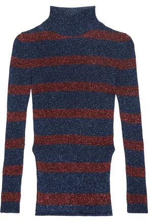 CEDRIC CHARLIER Striped metallic ribbed-knit turtleneck sweater