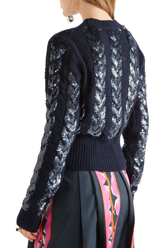 Distressed sequin-embellished cable-knit wool sweater | EMILIO PUCCI | Sale  up to 70% off | THE OUTNET