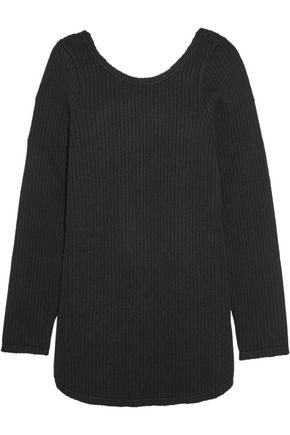 MARNI Open-back grosgrain-trimmed ribbed wool sweater