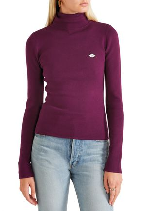 SEE BY CHLOÉ Appliquéd stretch cotton-blend turtleneck sweater