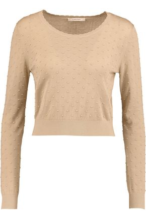 CARVEN Cropped Swiss-dot sweater