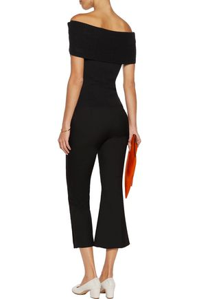 ALICE + OLIVIA Romi off-the-shoulder rib-paneled ponte top