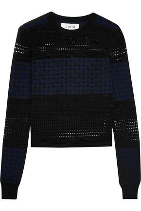 DEREK LAM 10 CROSBY Paneled silk, merino wool and cashmere-blend sweater ...