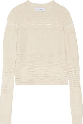 DEREK LAM 10 CROSBY Paneled silk, merino wool and cashmere-blend sweater