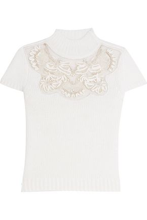 ALICE + OLIVIA Carla embellished wool-blend sweater