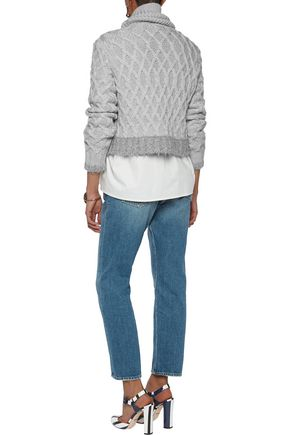 10 CROSBY DEREK LAM Cropped cable-knit merino wool-blend sweater