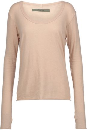 ENZA COSTA Flecked cotton and cashmere-blend top