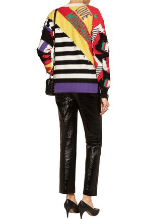 LOVE MOSCHINO Patchwork cotton and wool-blend cardigan