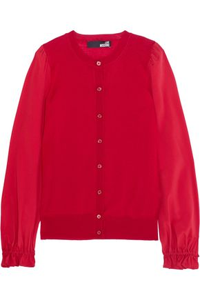 LOVE MOSCHINO Crepe-paneled wool cardigan