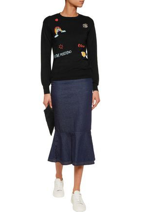 LOVE MOSCHINO Bead-embellished silk-blend sweater