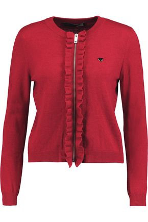 LOVE MOSCHINO Ruffle-trimmed knitted cardigan