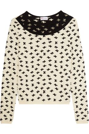 REDValentino Swiss dot tulle-paneled intarsia-knit sweater
