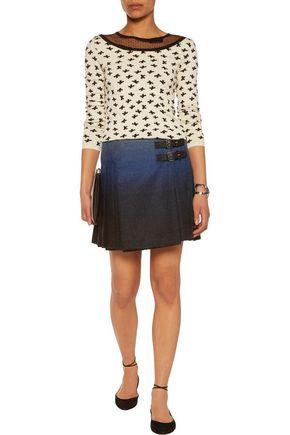 REDValentino Swiss dot tulle-paneled intarsia-knit sweater
