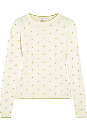 REDValentino Polka-dot embroidered cotton sweater