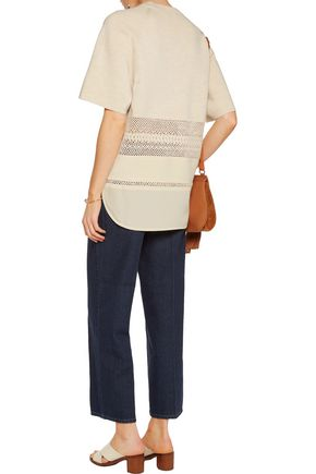 CHLOÉ Silk and crochet-paneled wool sweater