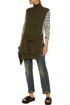 R13 Tie-front distressed cashmere turtleneck sweater