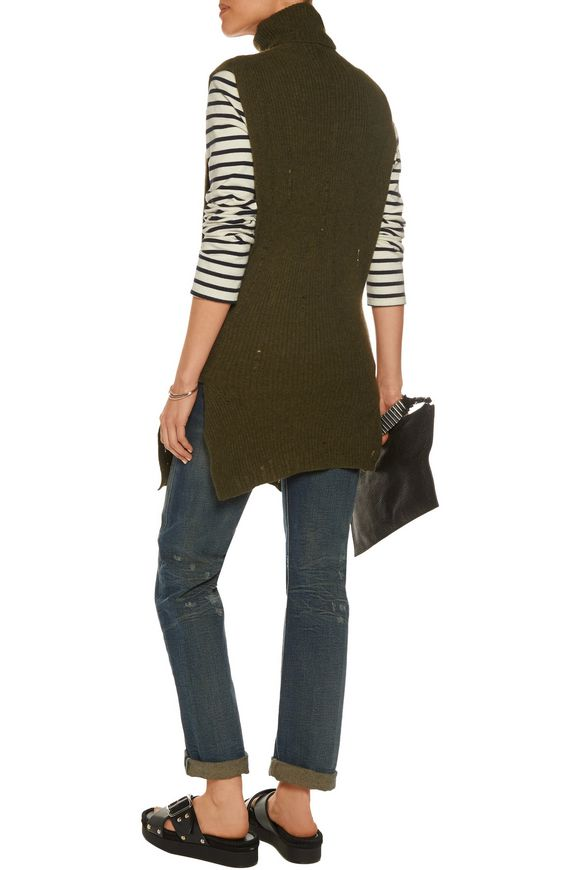 Tie-front distressed cashmere turtleneck sweater   R13   Sale up to 70% off    THE OUTNET