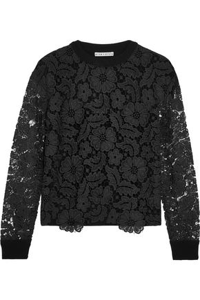 ALICE + OLIVIA Jesse macramé lace and ribbed wool-blend sweater