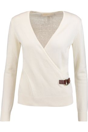 MICHAEL MICHAEL KORS Buckled wrap-effect cotton-blend sweater