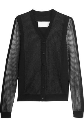 MAISON MARGIELA Pleated tulle-paneled wool-blend cardigan