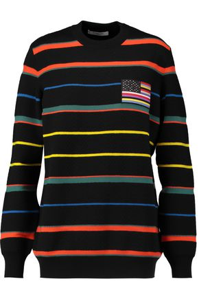 GIVENCHY Appliquéd striped wool sweater