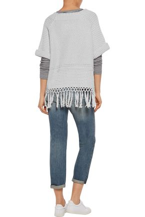 CURRENT/ELLIOTT The Peggy fringed open-knit cotton sweater