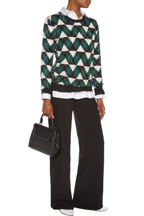 MARKUS LUPFER Beaded intarsia-knit merino wool sweater