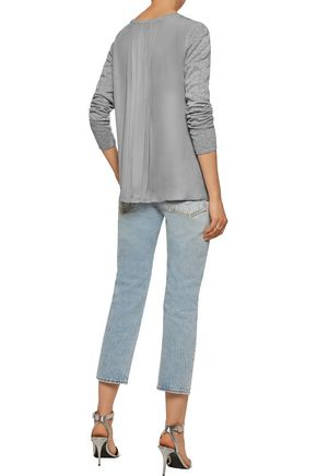 L'AGENCE Preston paneled stretch-knit and silk crepe de chine sweater