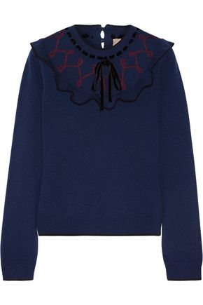 ROKSANDA Langton velvet-trimmed ruffled wool and cashmere-blend sweater