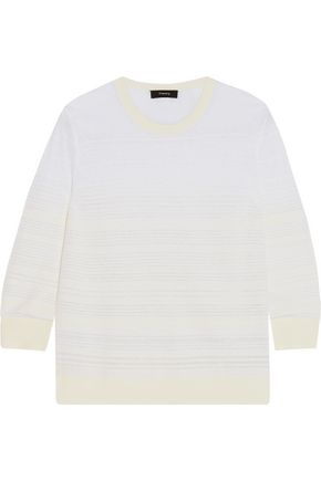 THEORY Rainee striped knitted cotton sweater