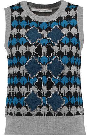 DIANE VON FURSTENBERG Loran embellished intarsia-knit merino wool sweater