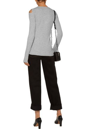 CURRENT/ELLIOTT Cold-shoulder marled wool-blend sweater
