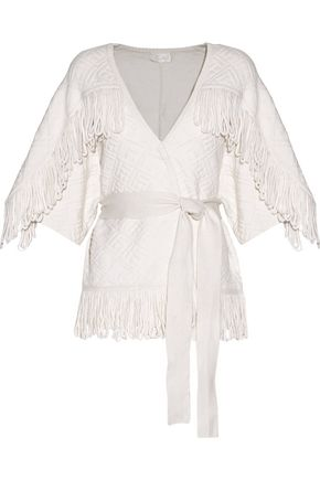 CAMILLA Belted fringed merino wool-blend cloqué cardigan
