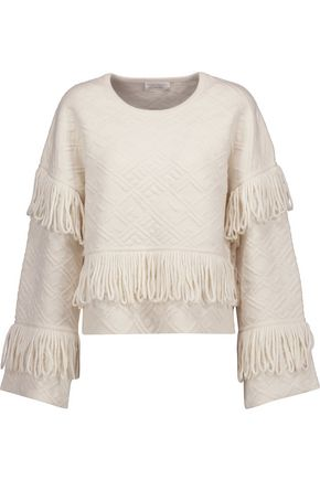 CAMILLA Fringed merino wool-blend cloqué sweater