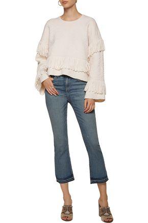CAMILLA Fringed merino wool-blend cloqué sweater