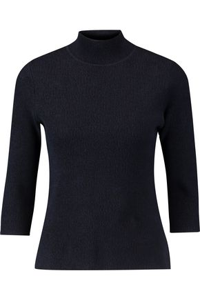 GANNI Ribbed cotton-blend jersey turtleneck top