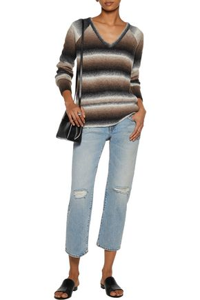 TART Bary faux leather-trimmed dégradé stretch-knit sweater