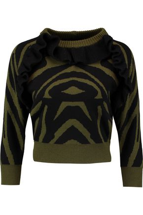 PAPER London Ruffled wool Tiger sweater
