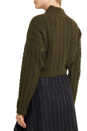 VIVIENNE WESTWOOD ANGLOMANIA Mud cropped twill-paneled cable-knit wool-blend sweater