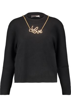 LOVE MOSCHINO Embellished intarsia-knit sweater