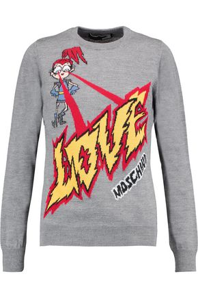 LOVE MOSCHINO Wool-blend intarsia-knit sweater