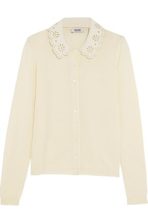 BOUTIQUE MOSCHINO Laser-cut crepe-trimmed cotton and wool-blend cardigan