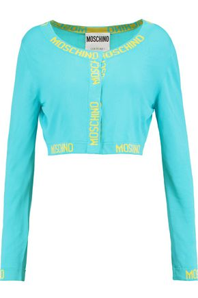 MOSCHINO Cropped stretch-knit cardigan