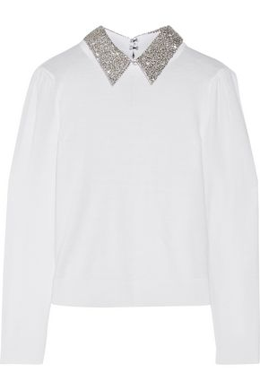 ALICE + OLIVIA Knitted lamé-paneled wool-blend sweater