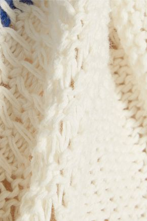CURRENT/ELLIOTT Striped open-knit linen and cotton-blend sweater