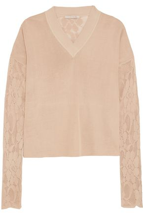 CHRISTOPHER KANE Stretch-knit and lace sweater